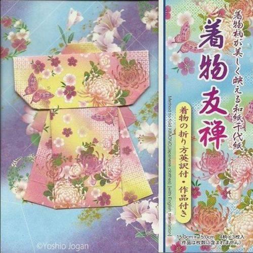 Papel Dobradura Origami Toyo Yuzen Kimono F/v 015 X 015 Cm 016101