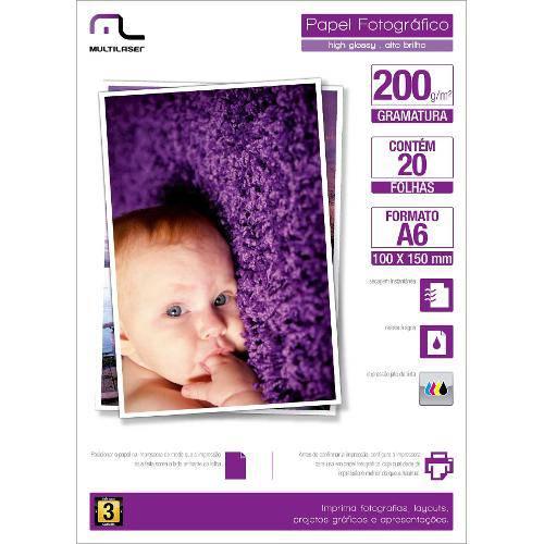 Papel Especial Photo Multilaser Paper A6 200g/M2 20 Folhas