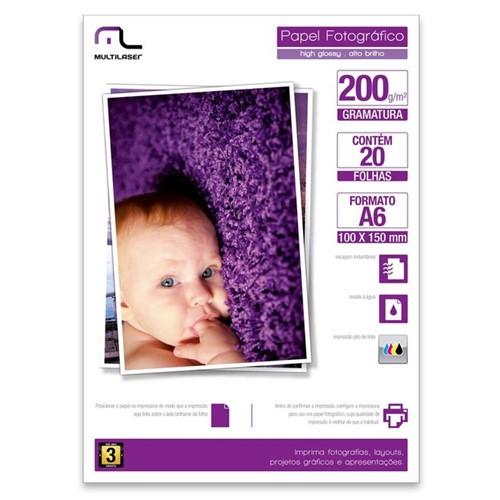 Papel Fotográfico Especial A6 200g/m2 com 20 Folhas PE010 Multilaser