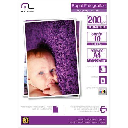 Papel Fotográfico Multilaser A4 200G /M2 C/ 10 Folhas - Branco - PE011 PE011