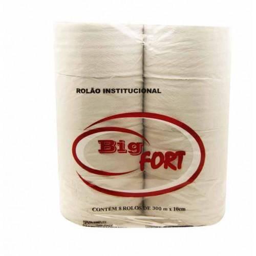 Papel Higiênico Big Fort Branco Rolão Institucional 300 M Folha Simples C/ 8 Unidades
