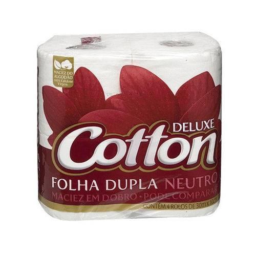 Papel HIGIÊNICO Deluxe Cotton - Folha Dupla Neutro - 4 Rolos
