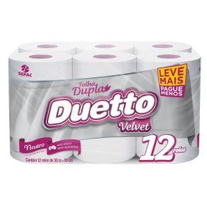 Papel Higiênico Duetto Velvet com 12 Unidades