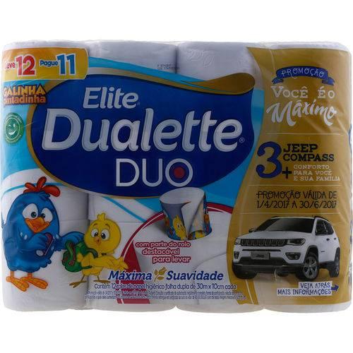 Papel Higiênico Elite Dualette Duo Folha Dupla com 12 Rolos