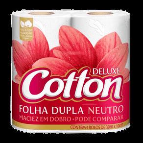 Papel Higiênico Folha Dupla Cotton Deluxe Neutro C/ 4 Rolos (30m X 10cm)