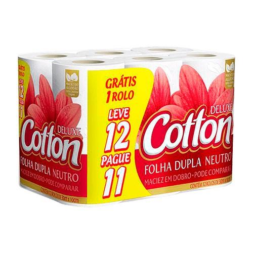 Papel Higiênico Folha Dupla Cotton Neutro 12 Unidades