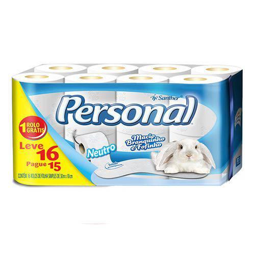 Papel Higienico Folha Simples Personal Santher com 16