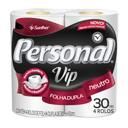 Papel Higienico Rolo 30m FD Personal Vip - Pacote com 4 Rolos Pvn44