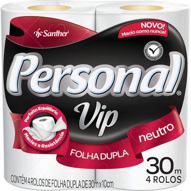 Papel Higiênico Personal Vip Folha Dupla 4X30m