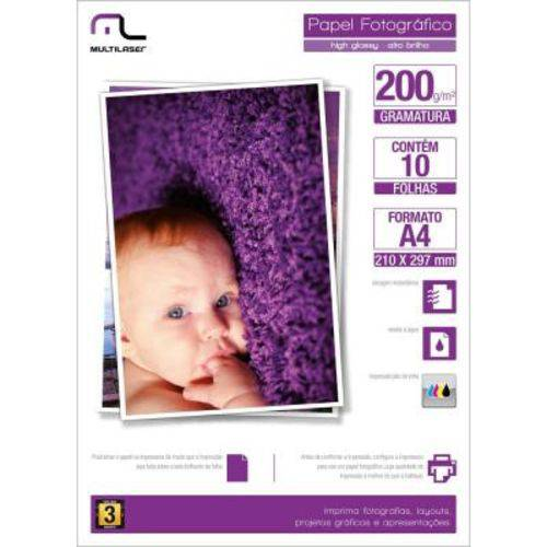 Papel Multilaser Photo Glossy 200Gr Tam A4 C/10Fls