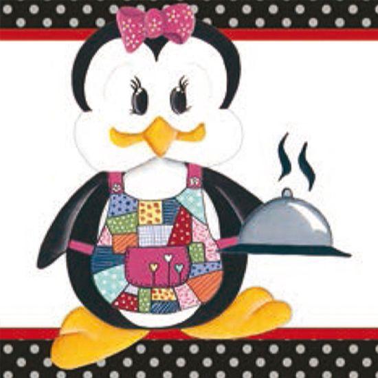 Papel Papel Adesivo Decoupage Pinguim Fêmea Cozinheira LAX-187 - Litocart