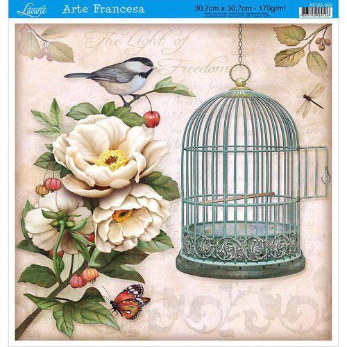 Papel para Arte Francesa Litoarte 30,7 X 30,7 Cm - Modelo Afqg-099 Gaiola Pássaro