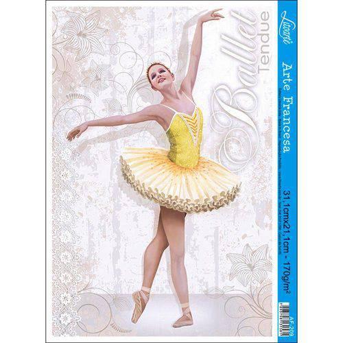 Papel para Arte Francesa Litoarte 21 X 31 Cm - Modelo Af-209 Bailarina/Ballet Fundo Branco