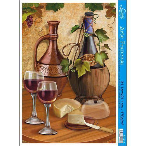 Papel para Arte Francesa Litoarte 21 X 31 Cm - Modelo Af-211 Vinho e Queijo