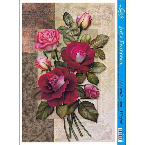 Papel para Arte Francesa Litoarte 21 X 31 Cm - Modelo Af-165 Rosas
