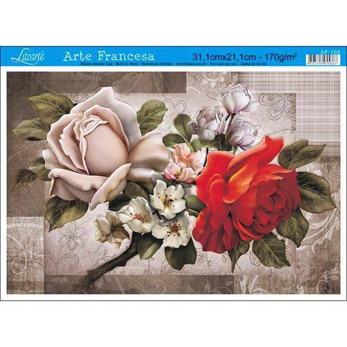 Papel para Arte Francesa Litoarte 21 X 31 Cm - Modelo Af-168 Rosas