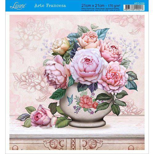 Papel para Arte Francesa Litoarte 21 X 21 Cm - Modelo Afq-339 Flores