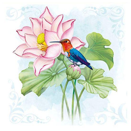 Papel para Arte Francesa Litoarte 21x21 AFQ-426 Flor de Lótus & Beija-Flor