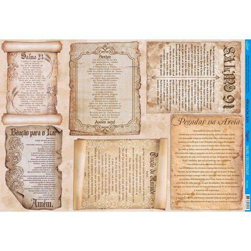 Papel para Decoupage Litoarte 49 X 34,3 Cm - Modelo Pd-858 Pergaminhos - Orações e Salmos