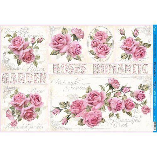 Papel para Decoupage Litoarte 49 X 34,3 Cm - Modelo Pd-896 Rosas Shabby Chic