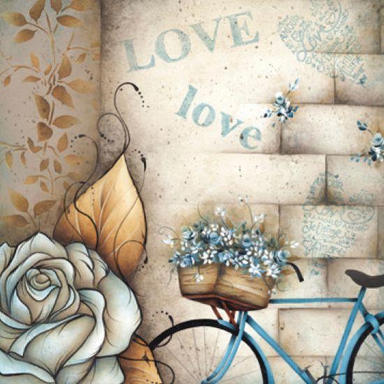 Papel Scrap Decor 16,5x16,5 Bicicleta com Flores LSCP-006 - Litocart