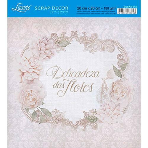 Papel Scrap Decor Folha Simples 20x20 Delicadeza das Flores Sdsxx-013 - Litoarte