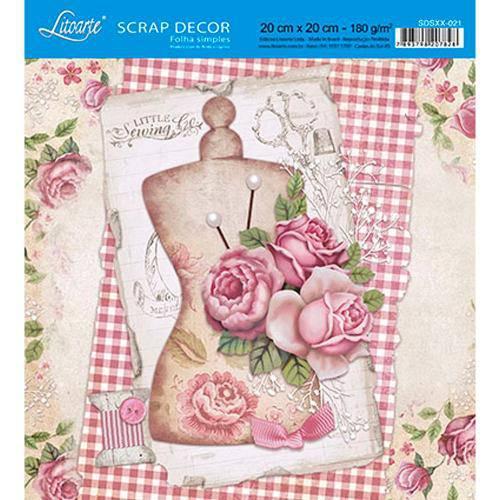 Papel Scrap Decor Folha Simples 20x20 Rosas Sdsxx-021 - Litoarte