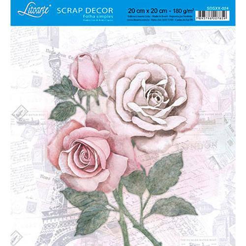 Papel Scrap Decor Folha Simples 20x20 Rosas Sdsxx-024 - Litoarte