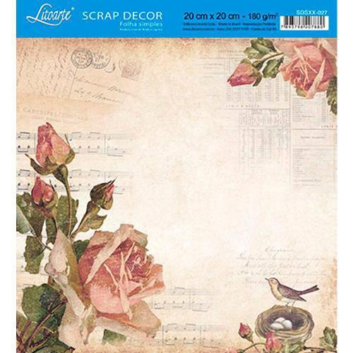 Papel Scrap Decor Folha Simples 20x20 Rosas Vintage Sdsxx-027 - Litoarte