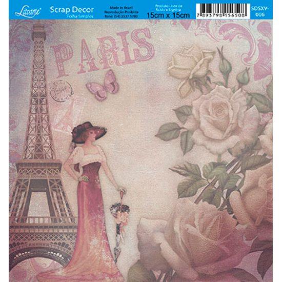 Papel Scrap Decor Folha Simples 15x15 Dama Paris SDSXV-006 - Litoarte