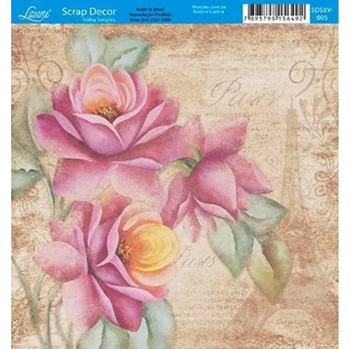 Papel Scrap Decor Folha Simples 15x15 Flores Paris SDSXV-005 - Litoarte