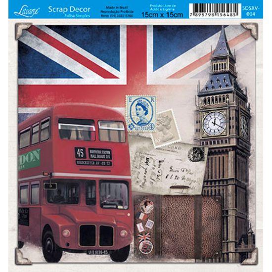 Papel Scrap Decor Folha Simples 15x15 Londres SDSXV-004 - Litoarte