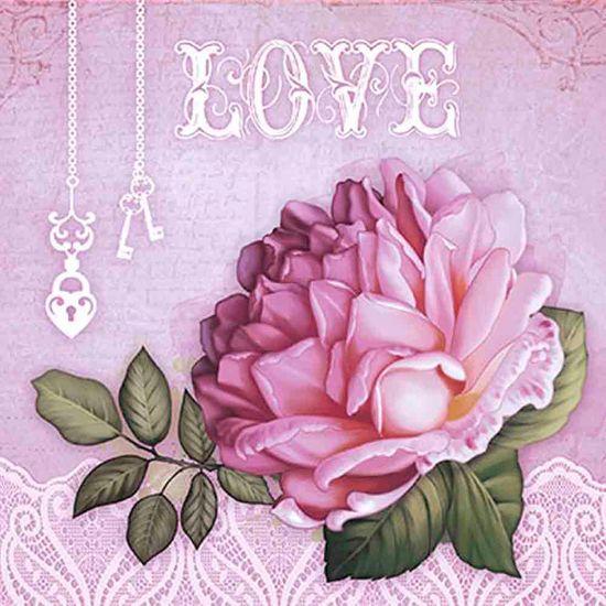 Papel Scrap Decor Folha Simples 15x15 Rosa Love SDSXV-048 - Litoarte