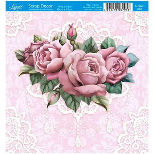 Papel Scrap Decor Folha Simples 15x15 Rosas Sdsxv-060 - Litoarte