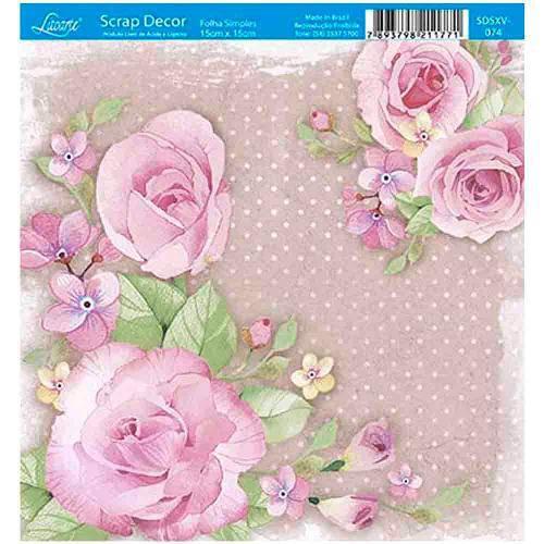 Papel Scrap Decor Folha Simples 15x15 Rosas Sdsxv-074 - Litoarte