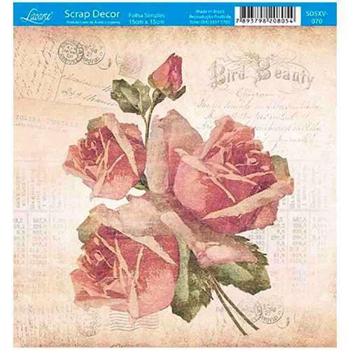 Papel Scrap Decor Folha Simples 15x15 Rosas Vintage Sdsxv-070 - Litoarte
