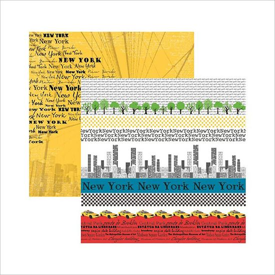 Papel Scrap DF Coleções New York Faixas SDF479 - Toke e Crie By Flavia Terzi