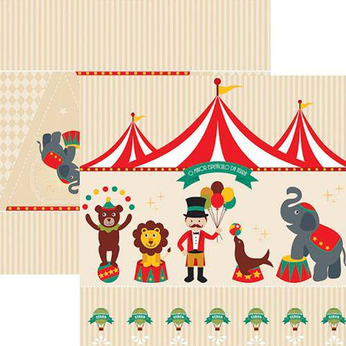 Papel Scrap Festa Dupla Face Circo Vintage Cenário e Bandeirolas Sdf644 - Toke e Crie By Mariceli