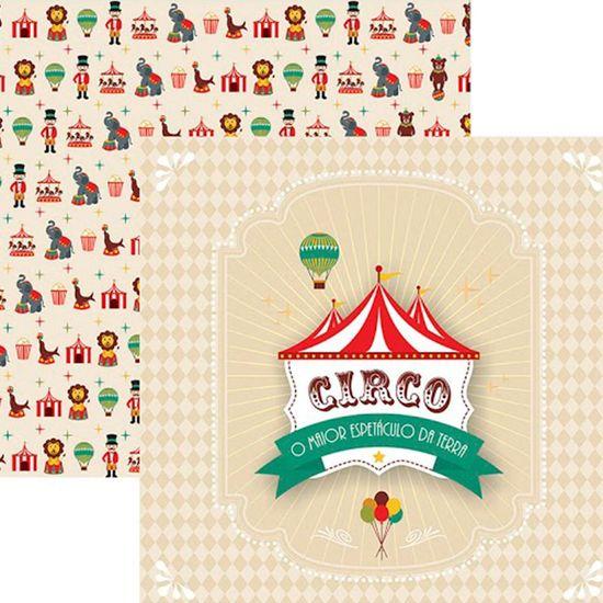 Papel Scrap Festa Dupla Face Circo Vintage Guirlanda SDF643 - Toke e Crie By Mariceli
