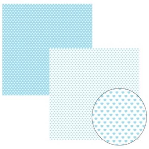 Papel Scrapbook Basico Azul Bebe Fb Coração Kfsb150 - Toke e Crie By Ivana Madi Azul Bebê