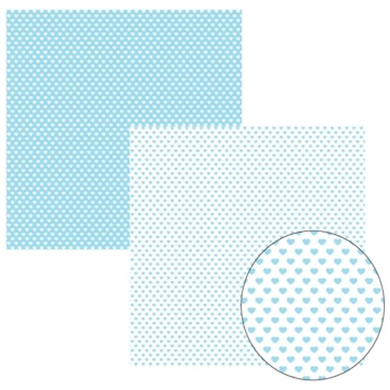 Papel Scrapbook Basico Azul Bebe Fb Coração KFSB150 - Toke e Crie By Ivana Madi