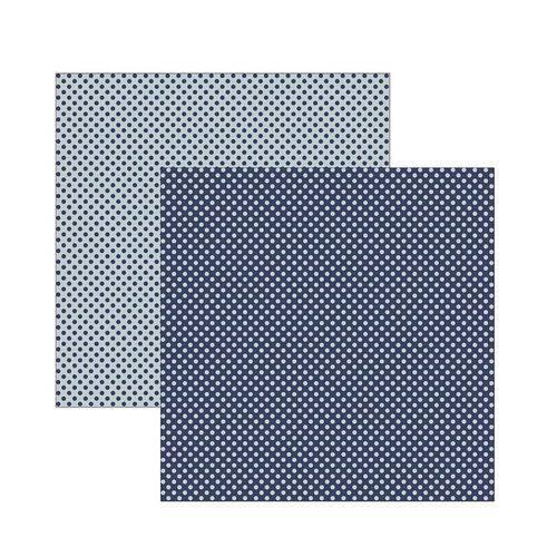 Papel Scrapbook Básico - KFSB116 - Azul Marinho Poá Grande