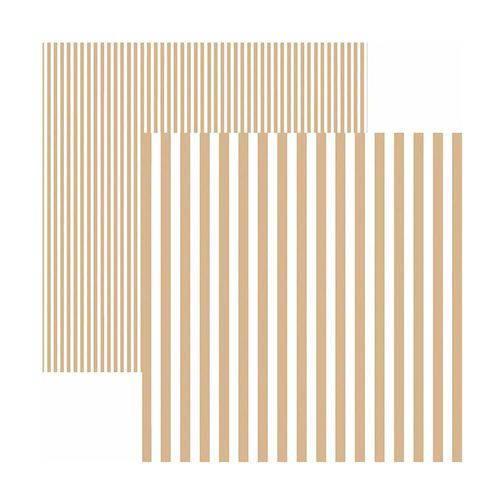 Papel Scrapbook Básico - KFSB447 - Listras Café com Leite - Toke e Crie