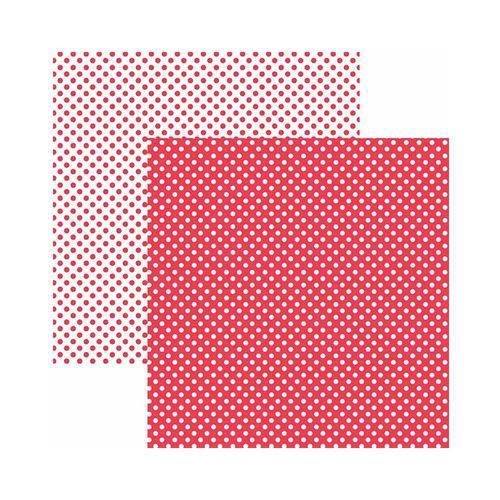 Papel Scrapbook Básico - KFSB448 - Poá Pequeno Vermelho - Toke e Crie
