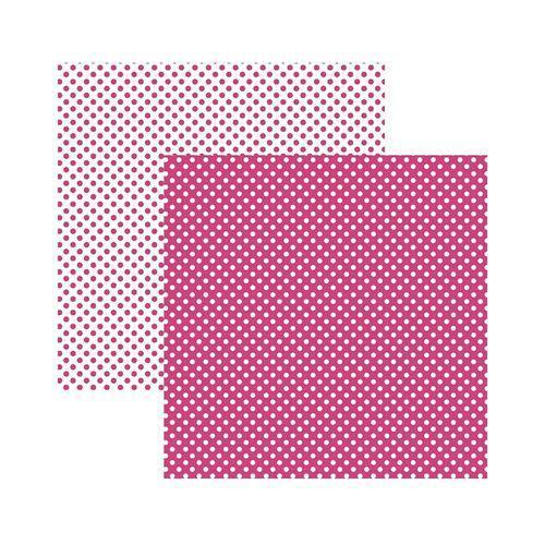 Papel Scrapbook Básico KFSB457 Poá Pequeno Rosa