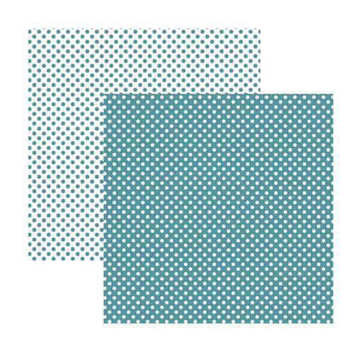 Papel Scrapbook Básico - KFSB464 - Poá Pequeno Turquesa - Toke e Crie