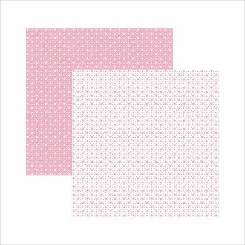 Papel Scrapbook Básico Rosa Bebê Fundo Branco Estrelas Kfsb404 - Toke e Crie By Ivana Madi