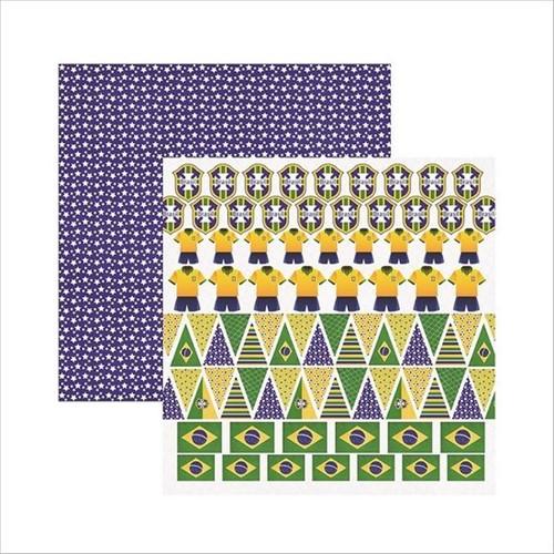Papel Scrapbook Brasil Bandeiras SDF407 - Toke e Crie By Ivana Madi