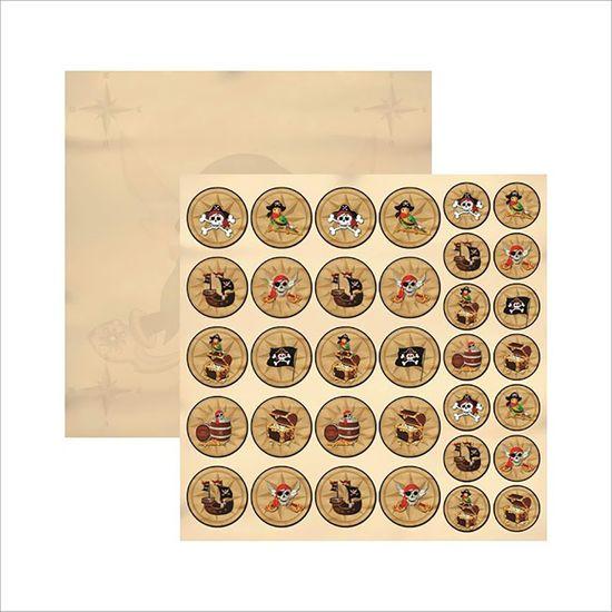 Papel Scrapbook Coleções Piratas Medalhões SDF516 - Toke e Crie By Ivana Madi