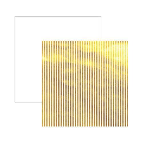 Papel Scrapbook DF - SDF613 Metal Listras Dourada FD Branco